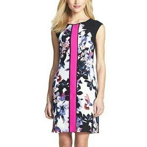 Ivanka Trump Floral Colorblock Bright Pink Dress 4